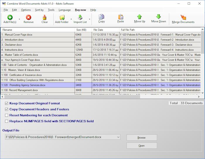 Windows 7 Combine Word Documents 4dots 1.0 full