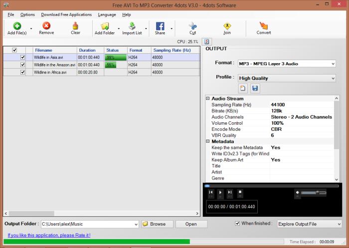 Free AVI To MP3 Converter 4dots 3.1 full