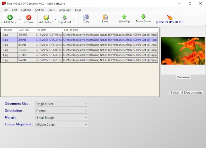 Free JPG to PDF Converter full screenshot