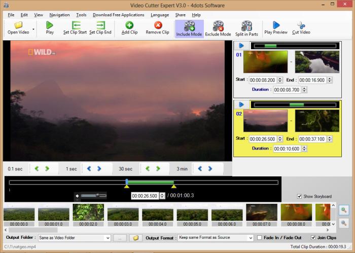 Free Video Cutter Expert - Main Screen