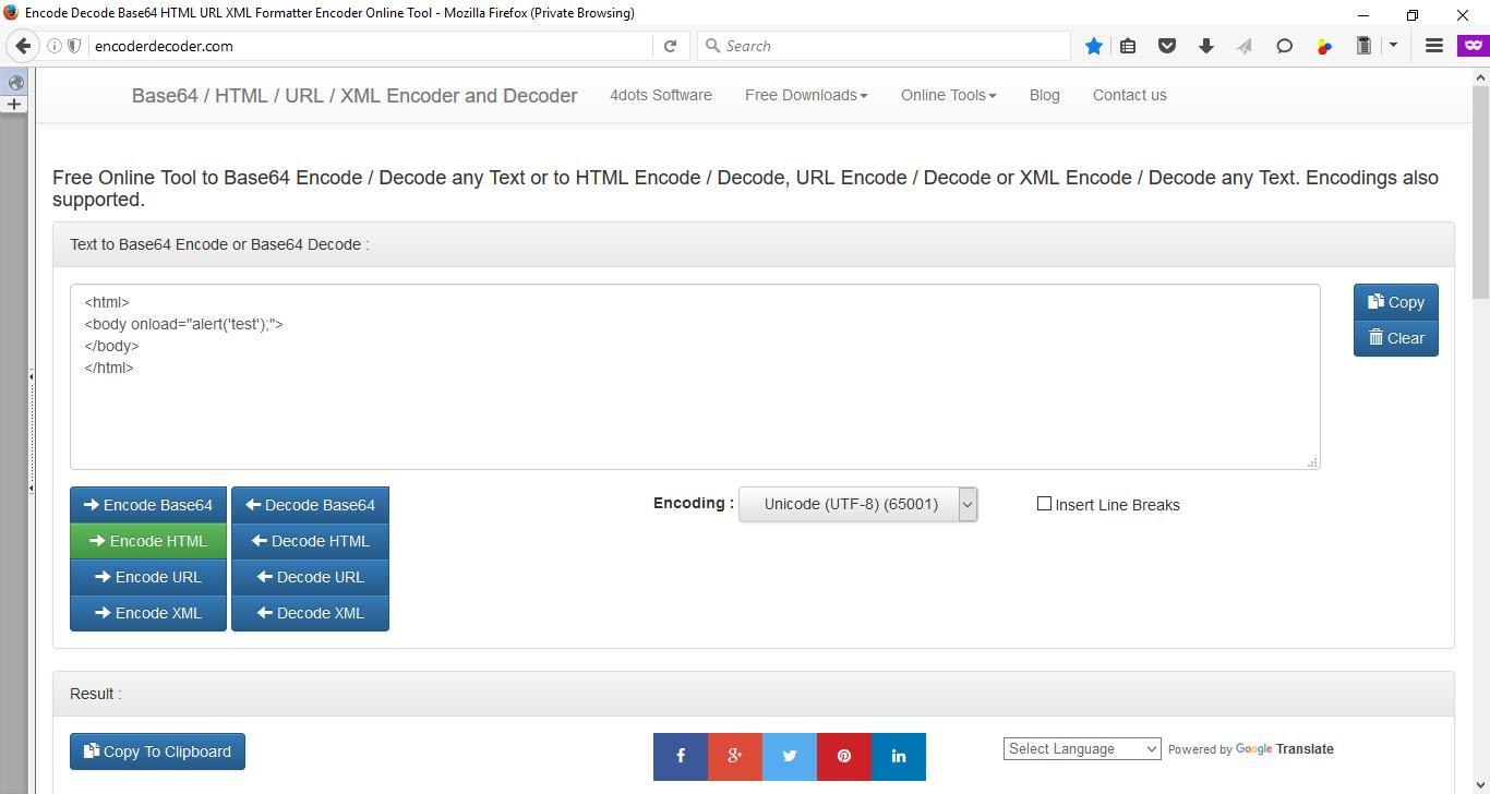 encode decode base64 html url xml formatter encoder online tool