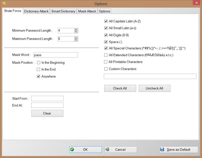 PDF Password Cracker Expert - Password Recovery Options