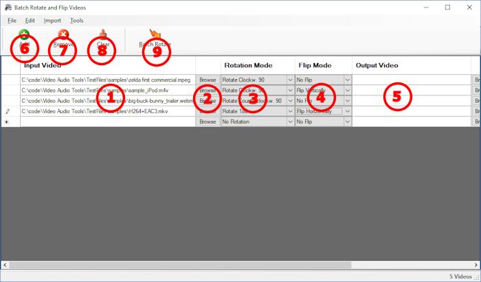 Video Rotator and Flipper -  Main Screen