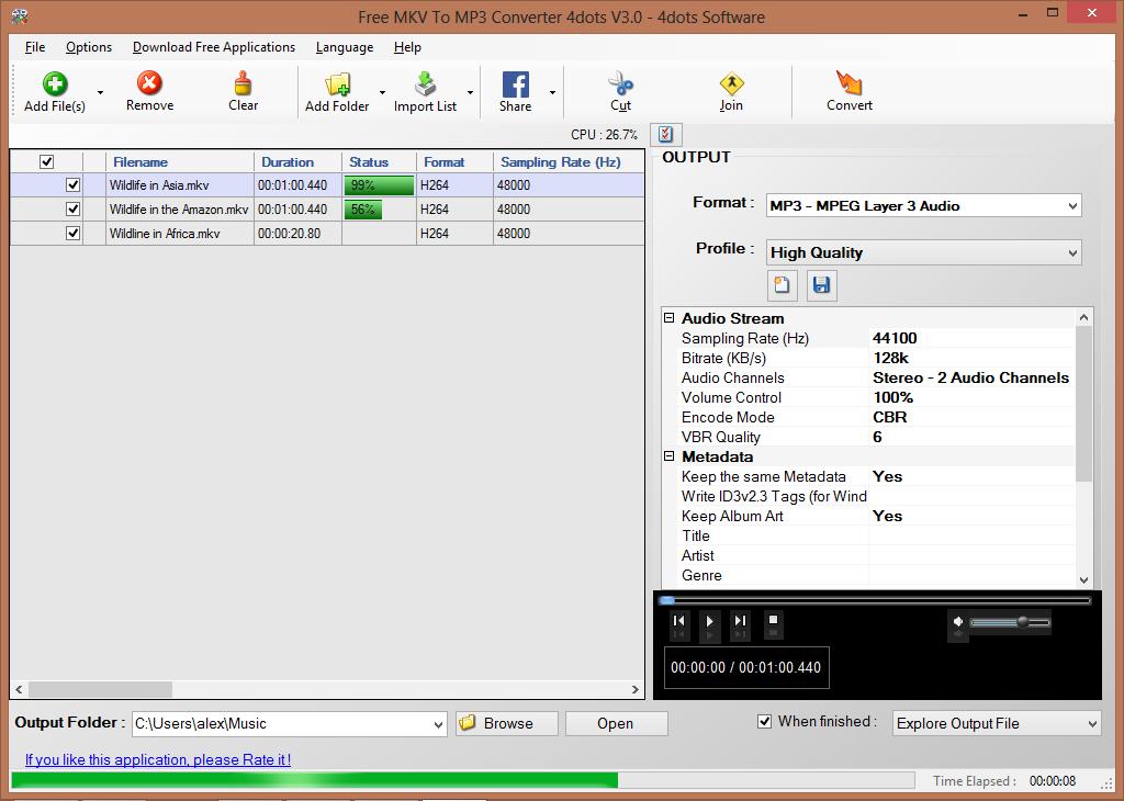 Free MKV To MP3 Converter- MKV to MP3,MKV to M4A,MKV