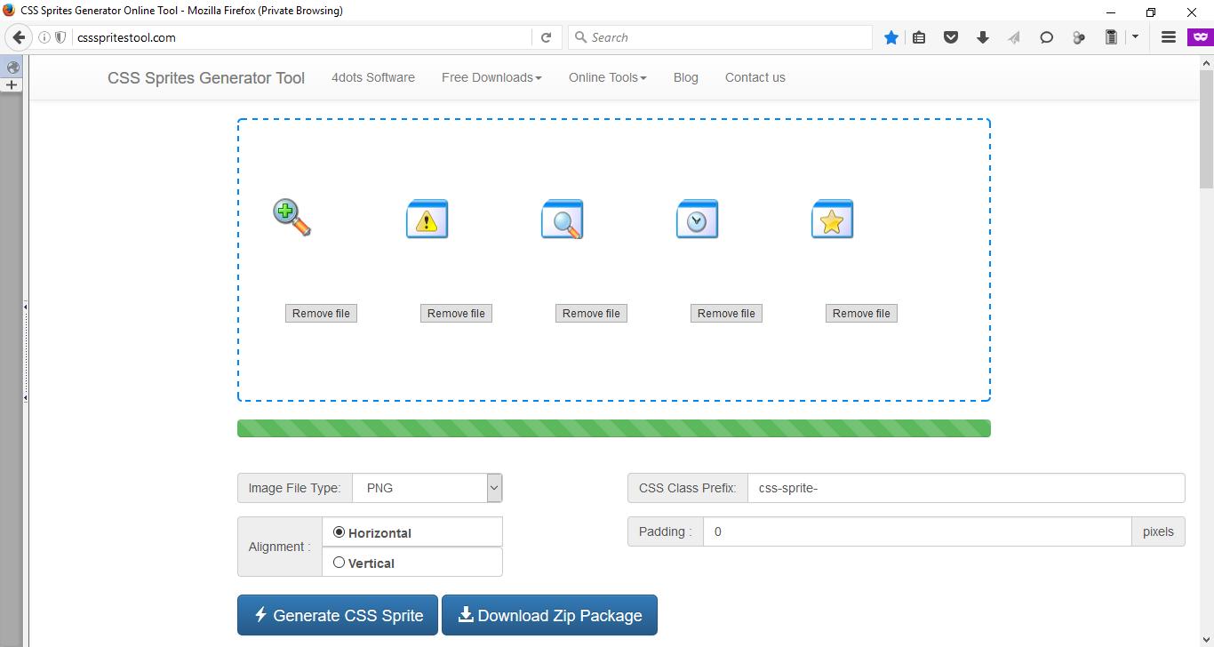 CSS sprites tool - CSS sprite generator - Online tool