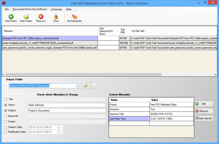 Free PDF Metadata Editor 4dots - Batch edit PDF metadata