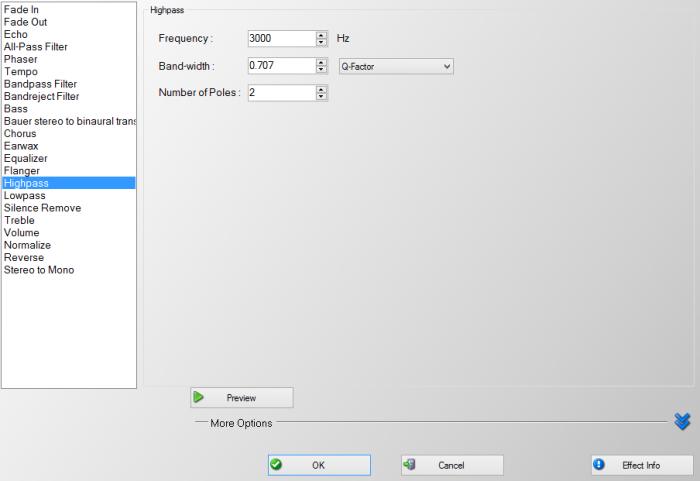 Effect MP3 Audio Echo Silence Remove Filter Highpass Bass Tempo
